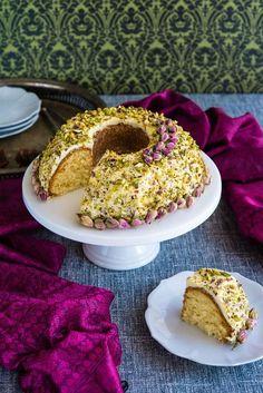 Rosewater, Cardamon and Pistachio Bundt Cake (The Hungry Australian)