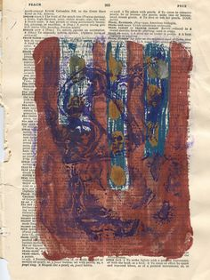 Abstract gelatin monotype print on vintage dictionary page with homemade gelatin plate, acrylic inks and acrylic paint by paperwerks on Etsy #etsy