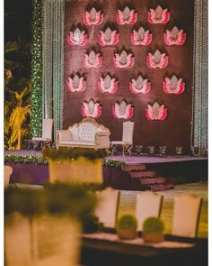 14 Best Stage Decoration Ideas For Indian Weddings! - The Urban Guide 14 Best Stage Decoration Ideas Engagement Stage Decoration, Wedding Stage Backdrop, Wedding Stage Design, Marriage Decoration, Wedding Stage Decorations, Backdrop Decorations, Flower Decorations, Simple Stage Decorations, Indian Wedding Venue