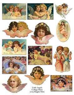 Little Victorian Angels Printable Collage Sheet  by MagpieMine, $4.00