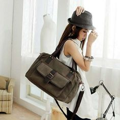Stylish European Canvas Casual Shoulder Bags Brown With A Pocket For Women