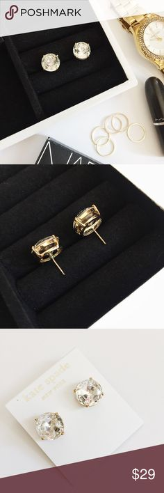 "Kate Spade Gumdrop Stud Earrings Kate Spade Gumdrop Stud Earrings featuring clear stones set in 14k gold-filled hardware.  Beautifully cut stones will catch the light and add a shine to any outfit!  NWT, never worn!  Last pic stock photo in different color, used to show size. Earrings measure 0.5""  •  BUNDLE with other jewelry to SAVE and GET THE LOOK!  • kate spade Jewelry Earrings"