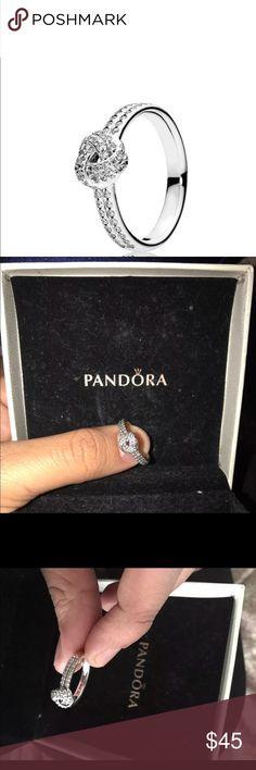Sparkling Love Knot Pandora Ring Brand new, never worn. Just got it today with a Pandora Special. Retails for $65 Pandora Jewelry Rings