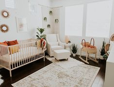 Modern Neutral Nursery Full of Plants When the mama uses a 'rainbow of neutrals' to decorate her baby's room, we hang on her every word and add every piece of boho decor to our carts Baby Room Design, Baby Room Decor, Nursery Room, Girl Nursery, Nursery Decor, Nursery Ideas, Room Ideas, Elephant Nursery, Hippie Nursery