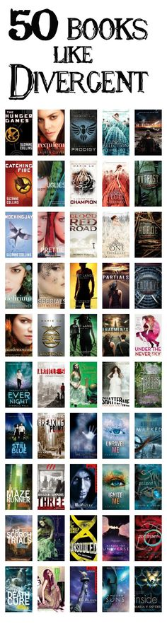 Divergent is my FAVORITE books! 50 Books Like Divergent of course it's more like only 20 bc so many are series~~~COOL Ya Books, I Love Books, Good Books, Books To Read, Music Books, Books Like Divergent, Divergent Series, Divergent Quotes, Reading Lists