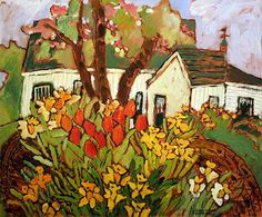 Spring Garden Colors / Claude A. Flower Paintings, Acrylic Paintings, Acrylic Art, Canadian Painters, Illustration Art, Illustrations, House Quilts, Colorful Garden, Museum Of Fine Arts