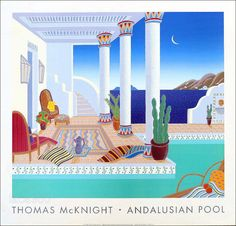 Thomas MCKNIGHT Andalusian Pool Scenic Fine Art Poster #Expressionism