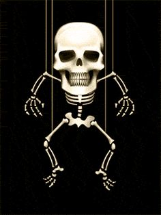 Moving picture dancing skeleton puppet on string animated gif