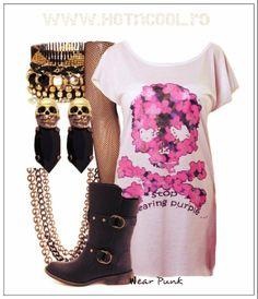#HOTnCOOL #Purple #Skull #TDress T Dress, Skull, Punk, Purple, Polyvore, How To Wear, Image, Fashion, Moda