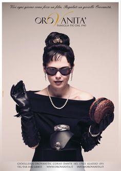 """Ispirato a """"Colazione da Tiffany""""  """"Vivi ogni giorno come fosse un film. Regalati un gioiello OroVanità""""  [produzione a cura di #UauCollective]  #adv #orovan2012 #gioielli #fashion"""