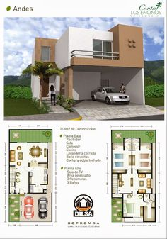 Modelo Andes en Contry Los Encinos Residencial Modern House Plans, Small House Plans, Modern House Design, House Floor Plans, Residential Architecture, Modern Architecture, Planer Layout, Home Design Plans, House Layouts