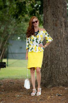 Trending: Styling My Off the Shoulder Lemon top - Elegantly Dressed &…