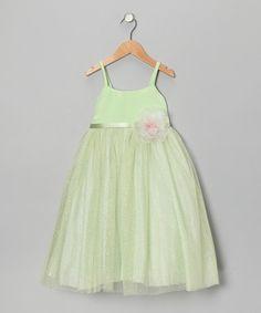 Look at this #zulilyfind! Lime Glitter Flower Babydoll Dress - Girls #zulilyfinds