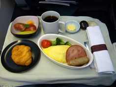 Top marks for presentation: Cathay Pacific's business class breakfast is an exercise in mi...