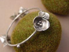 Sterling Silver Flower Bangle Bracelet by ReaganHayhurst on Etsy