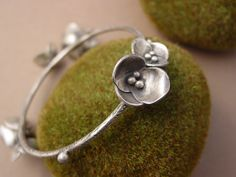 Sterling Silver Flower Bangle Bracelet by ReaganHayhurst on Etsy