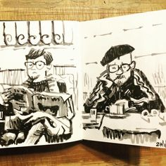 Jontofski. More Lisbon coffee shop customers #sketchbook #brushpen #lisbon…