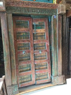 Antique Double Doors Hand Carved Blue Patina Reclaimed Teak