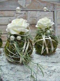 Others - Table arrangements, set of balls with rose, silver - a designer piece by . - Other – Table arrangements, set of balls with rose, silver – a unique product by die-mit-den - Deco Floral, Arte Floral, Floral Design, Wedding Centerpieces, Wedding Decorations, Christmas Decorations, Table Decorations, Table Arrangements, Floral Arrangements