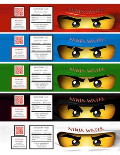Lego Ninjago Water Bottle Labels by OrchidAvePrintables on Etsy, $0.99