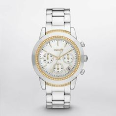 DKNY 3-Hand Chronograph with Date Women's watch #NY8588 DKNY. $153.99. Stainless Steel Case and Band. Women's Chronograph Watch. Quartz Movement. Water Resistant up to 50 Meters/165 Feet. Mother of Pearl Dial