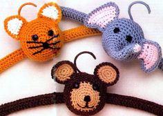 PDF Digital Download Vintage Crochet Pattern Baby Novelty Animal Coat Hangers Cat Elephant Monkey Double Knitting