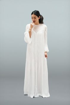 The pleated boho Willow Gown. Feminine, flowy and you'll never want to take it off! #bohochic #bohoweddingdress