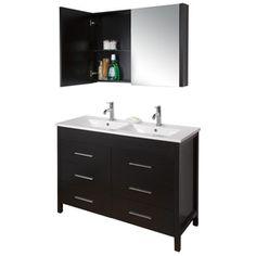 Bathroom Vanities 48 X 18 vigo maxine bathroom vanities 48-in x 18-1/4-in espresso black