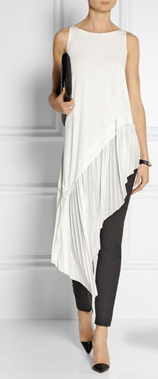 DONNA KARAN Stretch Crepe Leggings Style Pants Loving this cream asymmetrical tunic wish I had the source