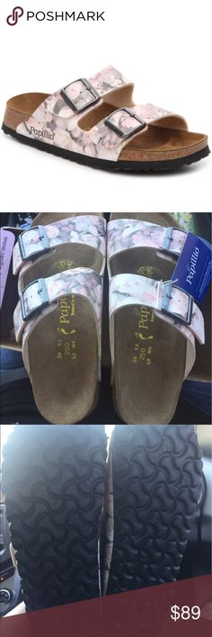 NEW BIRKENSTOCK ARIZONA PAPILLIO EURO39/ WMNS 8 New never used. ARIZONA STYLE 364133. Size US 8-8.5 NARROW FIT. BIRKO FLOR STRAPS. BOX IS MISSING LID. Birkenstock Shoes Sandals