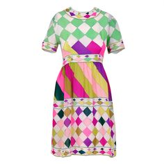 1960's Emilio Pucci Op-Art Colorful Print-Silk Mini Mod Dress | From a collection of rare vintage day dresses at https://www.1stdibs.com/fashion/clothing/day-dresses/