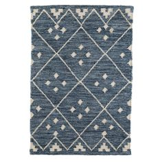 With the subtle sparkle of a lapis lazuli stone, our Kota woven wool rug has a sprinkle of glittering oxidized silver woven in to its indigo base. Criss-crossed with a natural diamond grid inlaid with a quad of diamonds in each center it will grace any entryway or high traffic area of your home with a regal welcome.