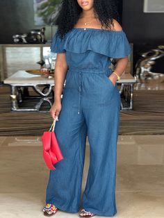 Off Shoulder Drawstring Wide Leg Denim Jumpsuit We Miss Moda is a leading Women's Clothing Store. Offering the newest Fashion and Trending Styles. Trend Fashion, Look Fashion, Fashion Outfits, Ladies Fashion, Womens Fashion, Fashion 2020, Fashion Ideas, Cheap Fashion, Fashion Clothes