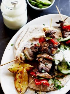 Quick lamb kebabs, Food And Drinks, Quick Lamb Kebabs from Jamie Oliver: These are so easy to make. Perfect for outdoor cooking! Kebab Recipes, Lamb Recipes, Dinner Recipes, Cooking Recipes, Healthy Recipes, Healthy Food, Cooking Ideas, Drink Recipes, Healthy Meals
