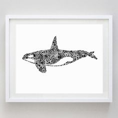 Orca Watercolor Print - Orca Art - Black and White - Home Decor - Girl's Wall Decor - Floral Orca Painting