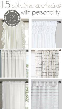 """15 long White Curtains 95"""" or longer, 96"""" white Curtains, farmhouse curtains"""