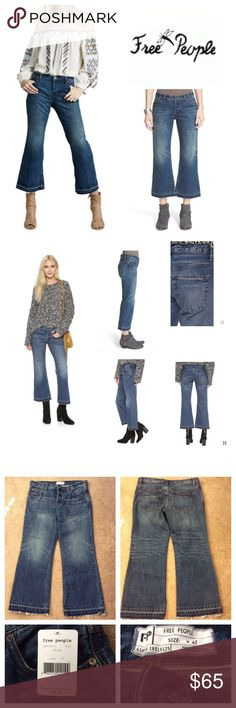 """Free People Crop Flare Jeans Free People Chelsea Crop Flare Jeans  Dramatic sanding and lived-in fading bring eye-catching definition to trendy blue jeans cut with cropped, released kick-flare hems for a cool throwback-inspired finish. Approx 26"""" inseam;  15-3/4"""" waist;  8-3/4"""" rise; Button fly.  Five-pocket style. 100% cotton. machine washable, tumble dry low. Free People Jeans Ankle & Cropped"""