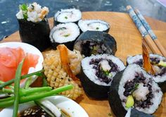 Making your own sushi is easy and delicious - try Blue Swimmer Crab with Black Rice or Salt and Pepper Squid Sushi...