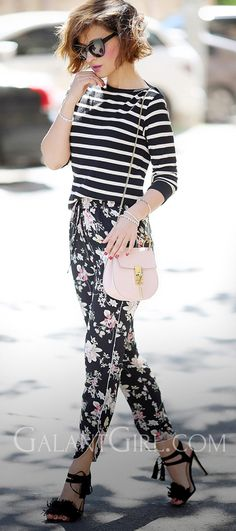 mixing prints outfits | floral pants | chloe drew bag |  striped top |