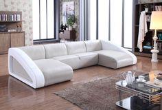 Divani Casa Pratt Modern Grey & White Leather Sectional Sofa - VG2T0916-GRY