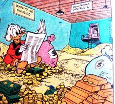 Tio Patinhas lê o Diário de Patópolis em seu cofre forte. Ilustração Walt Disney.