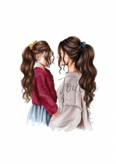 Mothers day mother and daughter mom and daughter mothers day gift girls room mum. - Mothers day mother and daughter mom and daughter mothers day gift girls room mum and daughter fashi - Mother And Daughter Drawing, Mother Art, Mom Daughter, Mother And Child, Best Friend Drawings, Girly Drawings, Sitting Girl, Girly M, Cute Girl Drawing