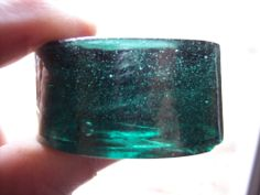 piano insulator teal glass vintage rare color