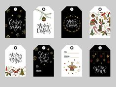 Christmas tags, labels & badges set by Alps View Art on Christmas Tags Printable, Christmas Templates, Gift Tags Printable, Christmas Clipart, Christmas Gift Tags, Christmas Goodies, Dark Christmas, Christmas Design, Merry Chistmas