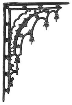 "Cast Iron 12"" Gothic Shelf Bracket Set of 2"