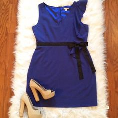 """Blue & Black Cocktail Dress • Ruffle • NYCO • NWOT Gorgeous cobalt blue cocktail dress featuring a fun ruffle & a black bow detailing the front and back! BRAND NEW! Never worn, I stupidly ripped the tags off before I put it on & it never fit lol! Tagged as 18, but fits like a 16. Measurements across laying flat=Waist: 19"""" (across black belt) • Bust: 22"""" (pit to pit) • Length: 39"""" (shoulder to hem) • NWOT New York & Company Dresses"""