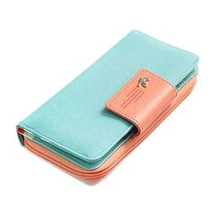 Perman Ladies Clutch Wallet PU Leather Case Zip Button Card Holder Long Purse Handbag New Light Blue ** You can find out more details at the link of the image.Note:It is affiliate link to Amazon.