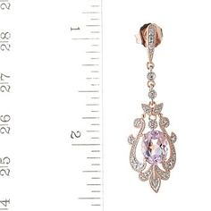 For Evening Dress When You Need Something Other Than Pearls: 130-234 14K ROSE-GOLD VINTAGE STYLE KUNZITE AND DIAMOND DROP EARRING, shopnbc.com