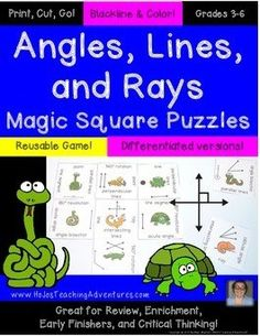 Math Test Prep - Using Magic Square Puzzles to help students learn angles, lines, and rays! Math Test Games, Geometric Terms, Magic Squares, Math Groups, Math Help, Critical Thinking Skills, Test Prep, Hands On Activities, Student Learning