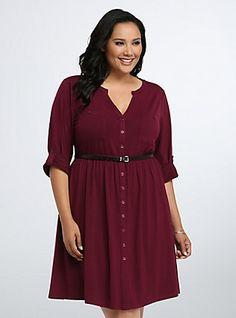 Plus Size Button Front Shirt Dress, DEEP MERLOT